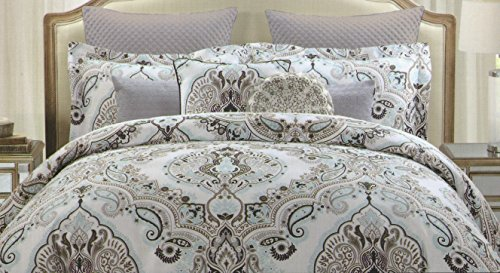 Tahari Full Queen Duvet Cover Set Large Floral Paisley