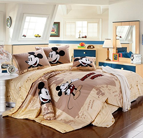 Norson Mickey Minnie Mouse Bedding Set Brown Full Queen