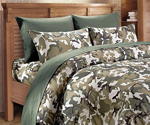 Microfiber 3 Piece Classic Green Camo Bed Sheet