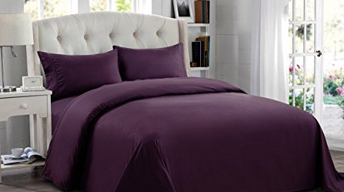 4 piece queen size purple solid bed sheet set super soft for High thread count bed sheets