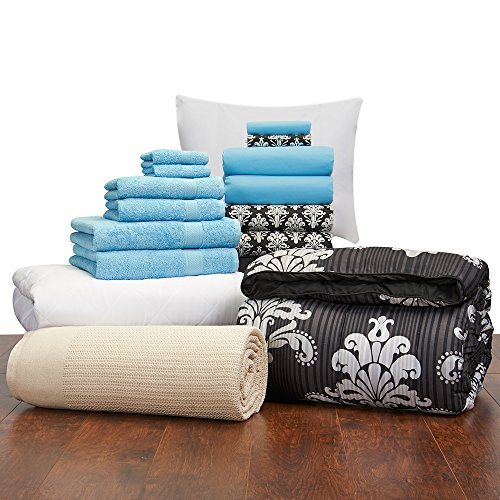 16 piece girls student starter pak twin xl college dorm for Starter bed