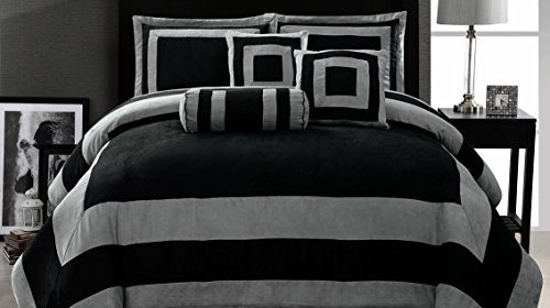 look and comfort black dramatic of white set full comforter image