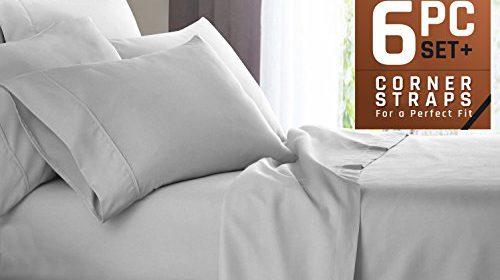 Premium 6 Piece Bed Sheet U0026 Pillow Case Set U2013 Luxurious U0026 Soft Cal King  Size Linen, Extra Deep Pocket Super Fit Fitted Silver Light Gray Sheets