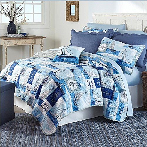 3 Piece Blue Kids Twin Full Boats Quilt Set White